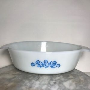 Vintage Anchor Hocking Blue Flowers Casserole Dish